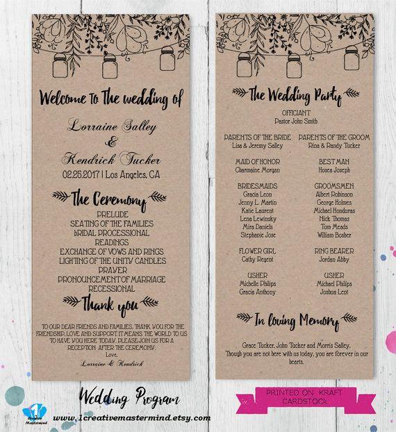 DIY Rustic Wedding Program Template Printable, Editable  Program PDF Template, Instant Download, Digital, Mason Jars and Flowers #1CM90-1