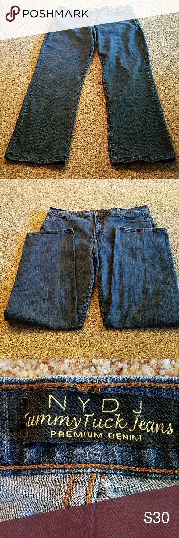 Price drop! NYDJ Tummy Tuck Premium jeans, 20W NYDJ jeans, premium denim, tummy tuck. Preloved with minimal signs of wear back pockets and hems. Please review pictures. Size 20W. Waist approximately 19 inches across flat with stretch. Inseam approximately 32 inches.  Front rise approximately 13 inches, back rise approximately 18 inches. No significant defects. NYDJ  Jeans