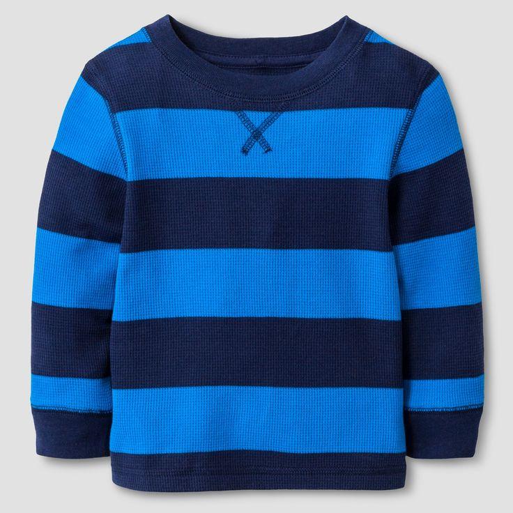 Baby Boys' Long Sleeve Henley Shirt - Cat & Jack Nightfall Blue 18M, Size: 18 M