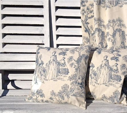 French cushion pillow. Blue toile de jouy linen by Kirstyflo, €23.00