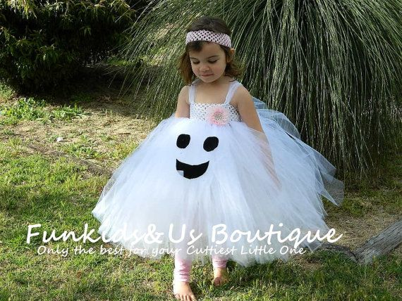 Halloween Dress-Ghost Dress-White & Black by FunkidsandUsBoutique