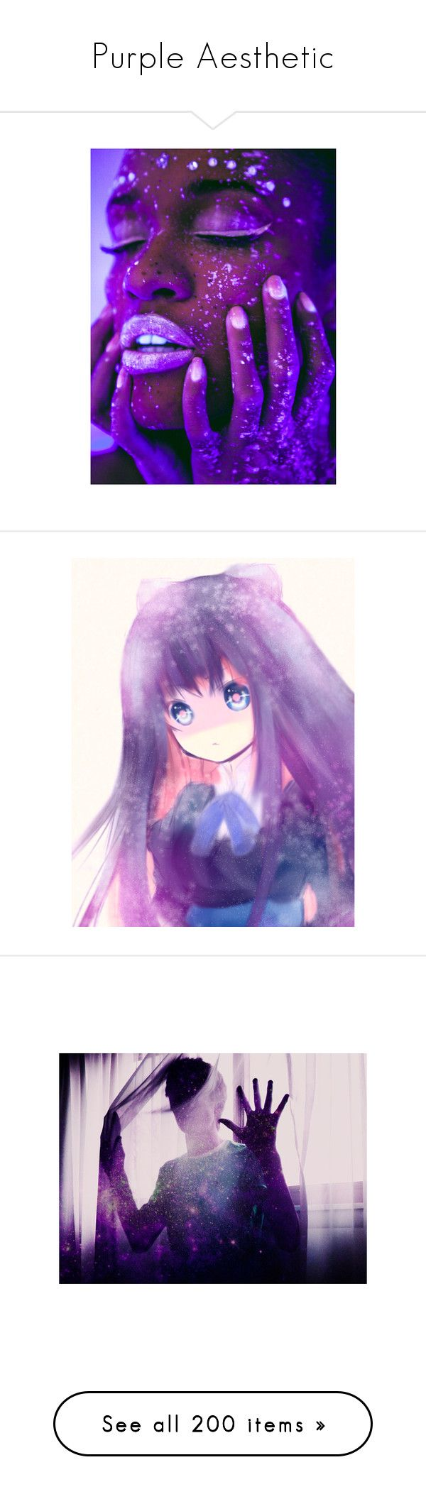 """""""Purple Aesthetic"""" by lux-winchester ❤ liked on Polyvore featuring backgrounds, pictures, faces, people, makeup, anime, anime/manga, purple, photos and fillers"""