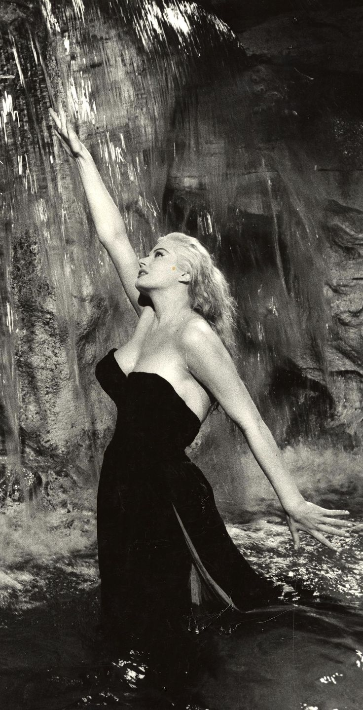 "Anita Ekberg in ""La Dolce Vita"" by Federico Fellini, Italy, 1960. Anita Ekberg (1931 – 2015) was a Swedish-born actress and sex symbol."