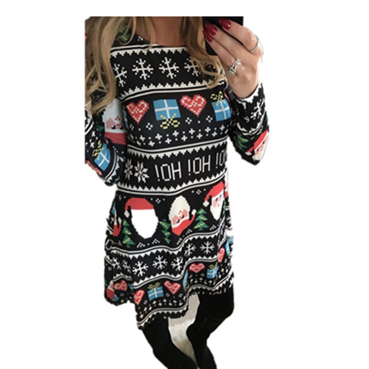 2017 New Fashion Winter Autumn Dress Women Long-sleeved Casual Christmas Dress Snowman Mosaic Dresses Plus Size Women Clothing