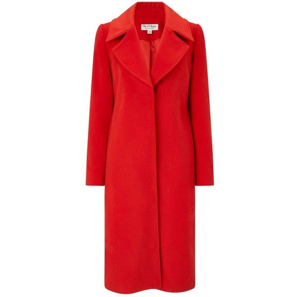 Miss Selfridge Red Statement Duster Coat ($88) ❤ liked on Polyvore featuring outerwear, coats, red, calf length coat, miss selfridge coats, crombie coat, miss selfridge and midi coat