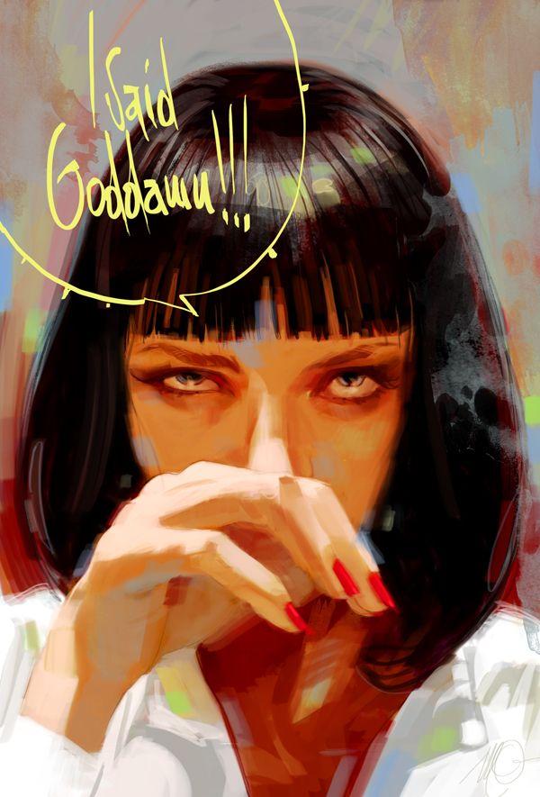 eyes: Quentin Tarantino, Movie Scene, Pulpfiction, Uma Thurman, Umathurman, Mia Wallace, Art, Miawallac, Pulp Fiction