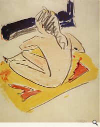 Ernst Ludwig Kirchner; Sitzende Fränzi, 1910. Aquarell über Graphit, 37,6 x 30,2 cm. Brücke-Museum, Berlin; Foto: Brücke-Museum, Berlin. © Ingeborg und Dr. Wolfgang Henze-Ketterer, Wichtrach/Bern