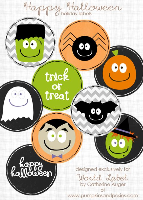 Free Printable halloween labels  in a few sizes including Hershey Kisses. Designed by @Catherine Auger