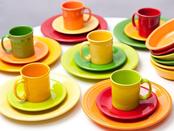 Bright summer colors of Fiestaware - Creative, Fun, Mix and Match! I think my favorite is the scarlet red, sunflower yellow and tangerine orange!