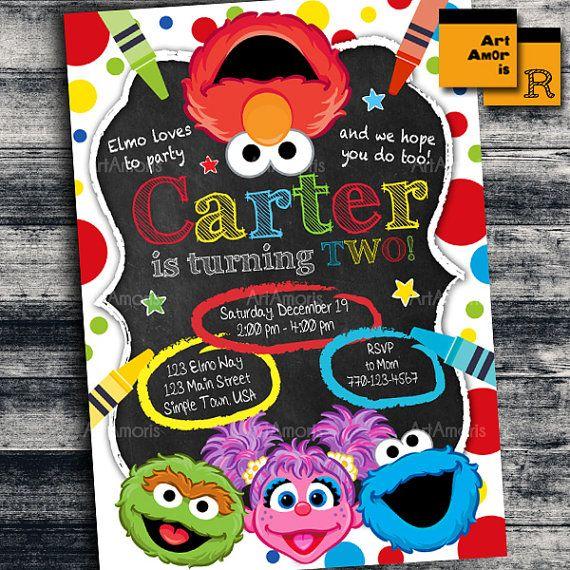 Elmo Invitation Elmo Birthday Invitation Art Party by ArtAmoris