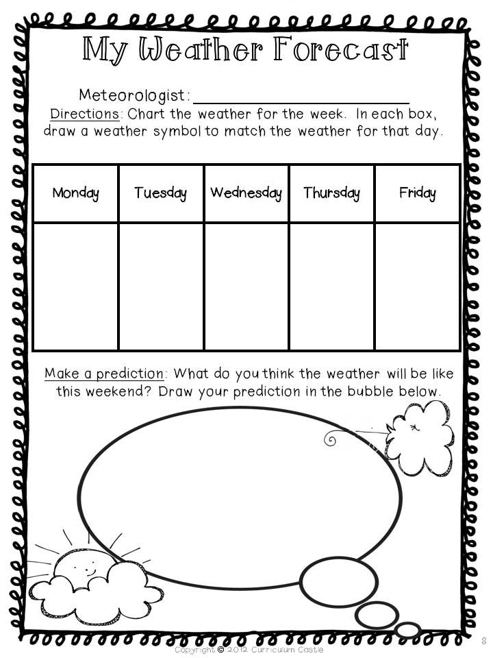 Weather Forecast--have students chart the weather for the week and predict the weekend weather! $
