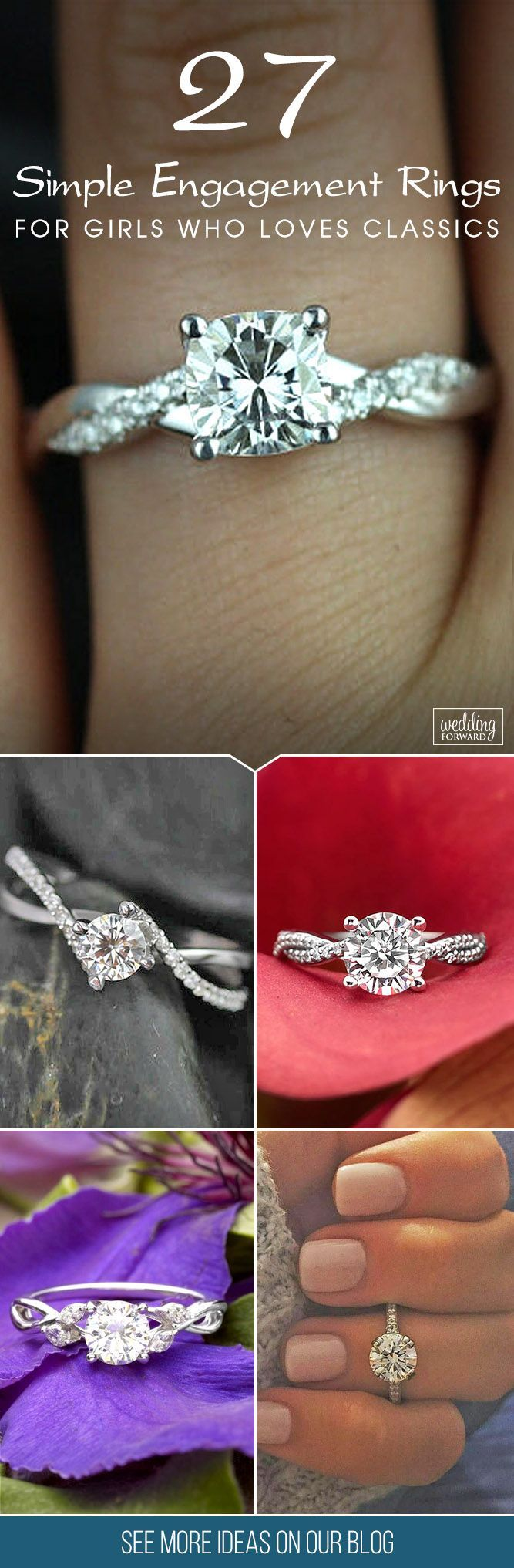 27 Simple Engagement Rings For Girls Who Loves Classics. ❤️ Simple engagement rings have various styles and designs.  In the classic version can be one diamond, two or three stones. See more: http://www.weddingforward.com/simple-engagement-rings/ #simple #engagement #rings