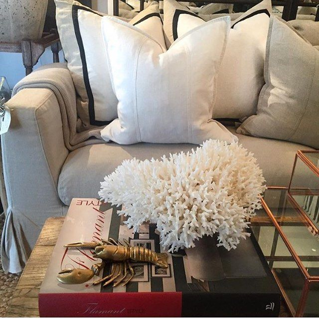 """Eadie says """" absolutely drop dead gorgeous. This pic is courtesy of our wonderful retailer @harolds_finishing_touches in Toowoomba. Featured here is our beautiful villa cushions (behind) teamed with our Luca linen cushions in white and natural. All 100% linen and feather-filled.  Aaron (owner) your styling is sublime. Thank you for showcasing Eadie Lifestyle so beautifully """" www.eadielifestyle.com.au #eadiecushions #linencushions #featherfilledcushions #beautifulhomewares…"""