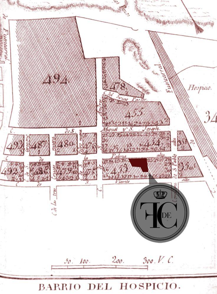 Mapa (sobre 1816) indicando la localización de la fábrica en la calle de la Palma después de su ampliación.