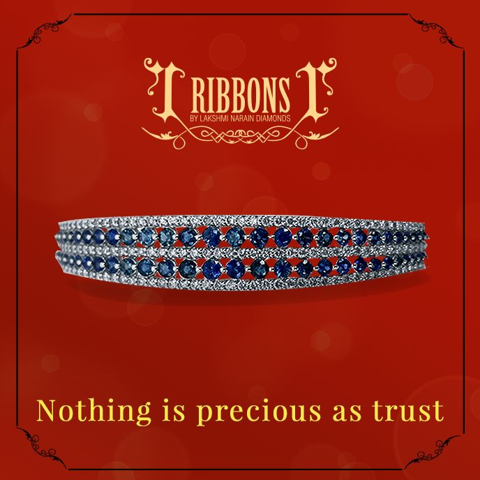Rows of beautifully cut sapphires flanked by strings of diamonds is the perfect gift for your sister, this Bhai Dooj.  #RibbonsJewellery #Trust #Diamond #Sapphire #Bracelet #Blue #Delhi #Jewellery #Jewelry #Jewels #Jewelers #BhaiDooj #Brother #Sister