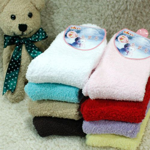 New unisex men women Simple VIVID warm fluffy winter Fuzzy socks_8options