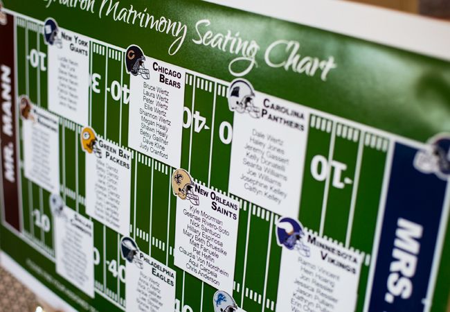 Football-inspired seating chart | Look Wedding Photography |