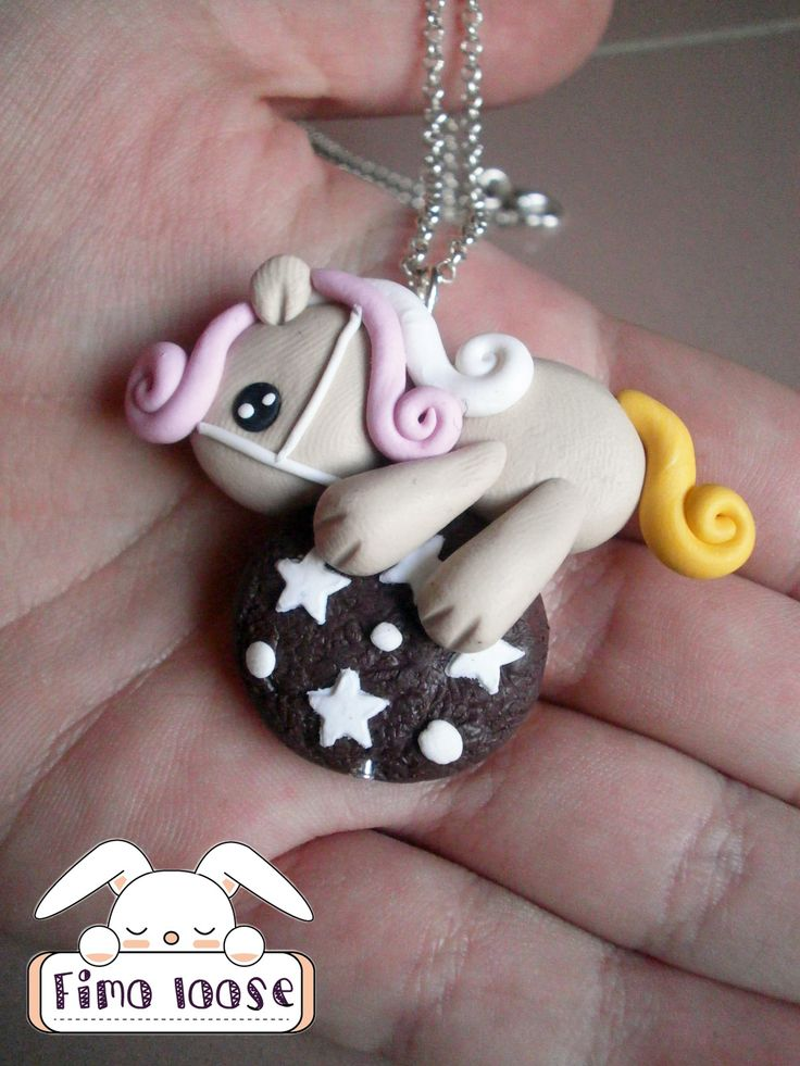 fimo polymer clay collana necklace pony