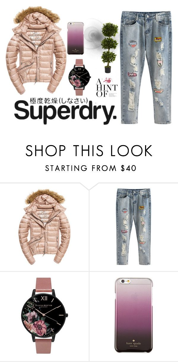 """The Cover Up – Jackets by Superdry: Contest Entry"" by edithhlatshwayo on Polyvore featuring Superdry, Fuji, Olivia Burton, Kate Spade and Nearly Natural"
