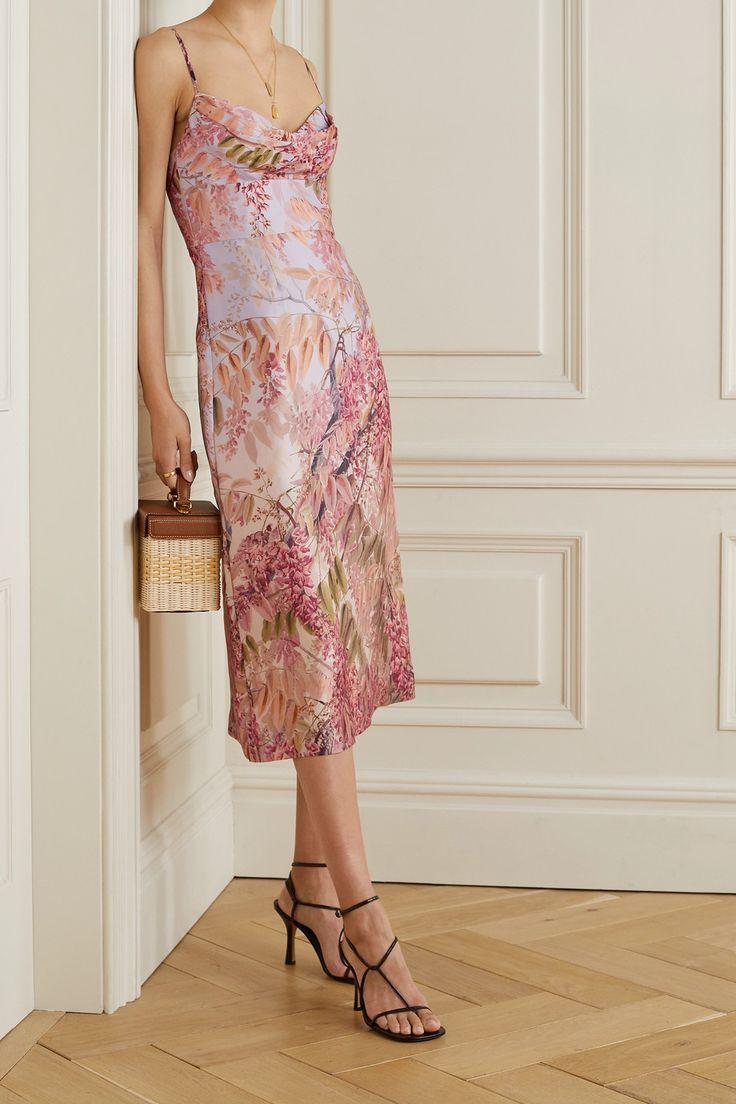 pink wild botanica floral print silk organza dress zimmermann in