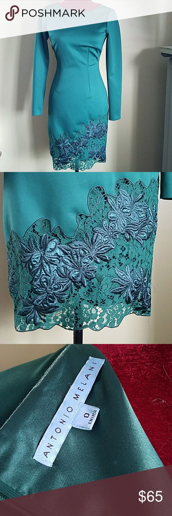 Antonio Melani Green special occasion dress Hunter green special occasion dress with embroidered green and lace detail. Never worn. No tags. ANTONIO MELANI Dresses Long Sleeve