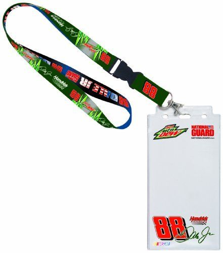 """NASCAR Dale Earnhardt Jr Credential Holder - National Guard by WinCraft. $12.86. This vinyl 4 1/4"""" x 8 1/2"""" has clear frosted front, with full color graphics printed on the inside of the ticket holder. The Holder is offer with a break away lanyard. Made in the USA."""