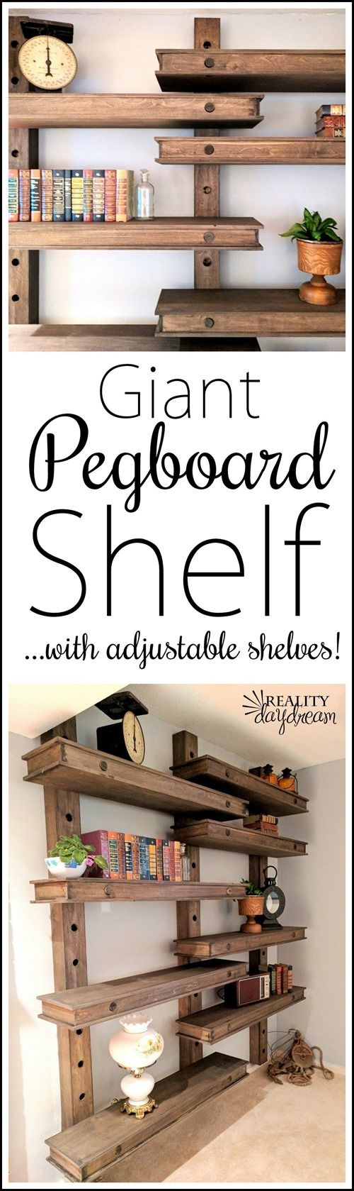 Oversized DIY Pegboard Shelving System ...so many different ways to customize! {Reality Daydream}