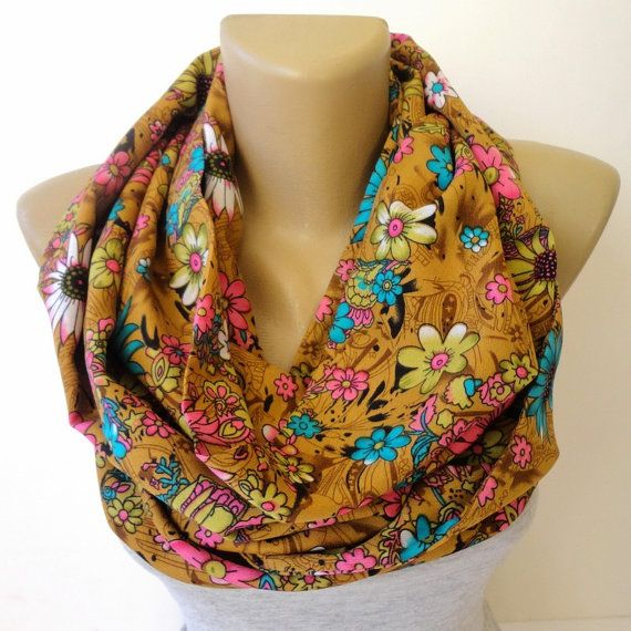 cute floral scarf , infinity scarf ,eternity ,colorful scarves ,both sides the same fabric ,two-ply on Etsy, $25.00