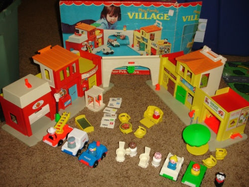 Vintage Fisher Price Little People Village #997 Still works great!  Love the fire engine house alarm!