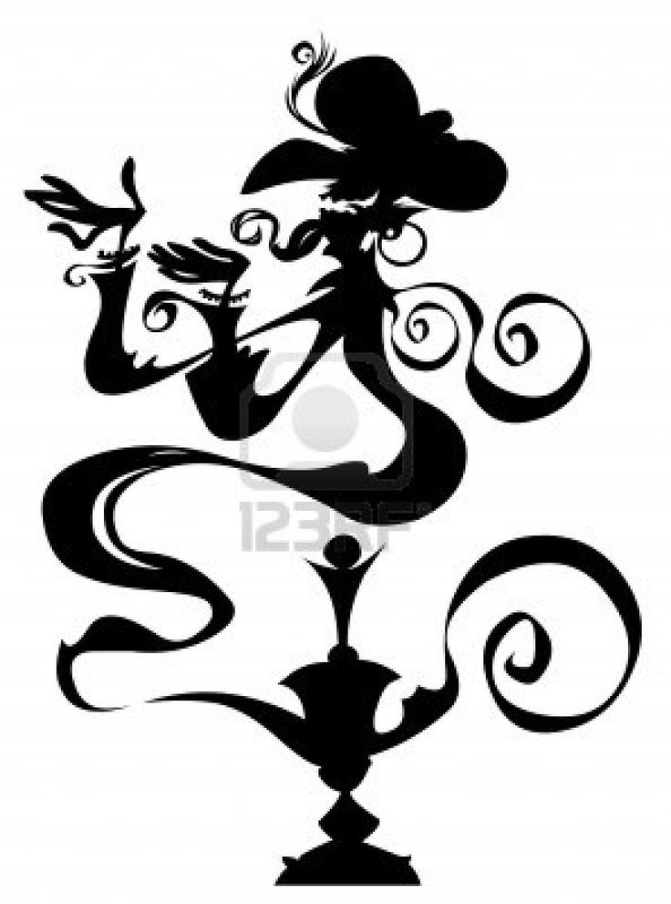 Genie in a lamp Silhouette drawing - 67.4KB