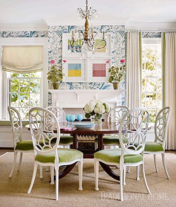 Home Tour Preppy Home Decor Prints In Nashville Tennessee The Zhush Green Dining Room Dining Room Decor Traditional House