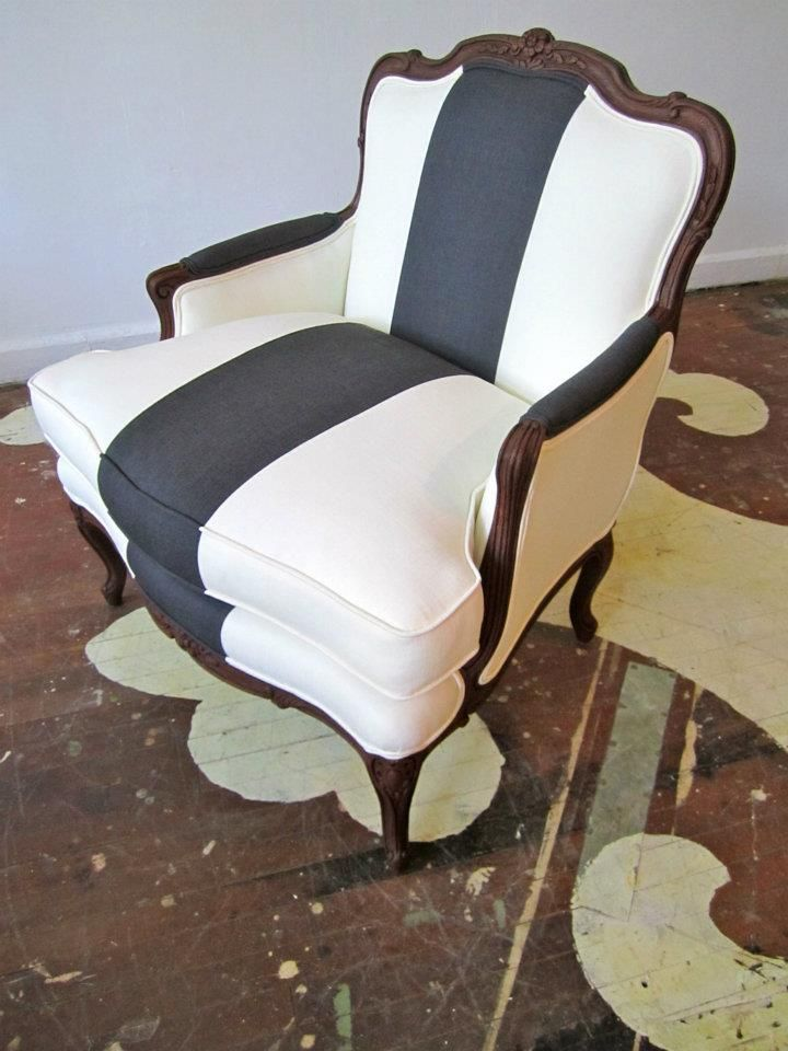 i have a chair just like this - great idea for me to change the fabric. french chair w/ striped upholstery
