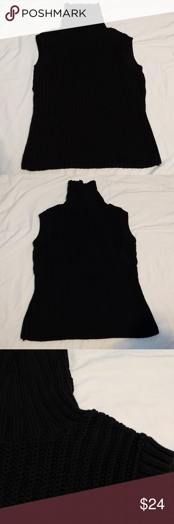 Avalin Cowl-Neck BlackSweater Tank *Avalin Cowl-Neck Black Sweater Tank *100% Cotton *Avalon brand sold at Centery 21 *Looks so chic paired with some white jeans! *Used, like new condition other than two tiny pulled threads pictured!  Please feel free to make an offer or ask questions!  xoxo Karlynn [: Avalin Sweaters Cowl & Turtlenecks