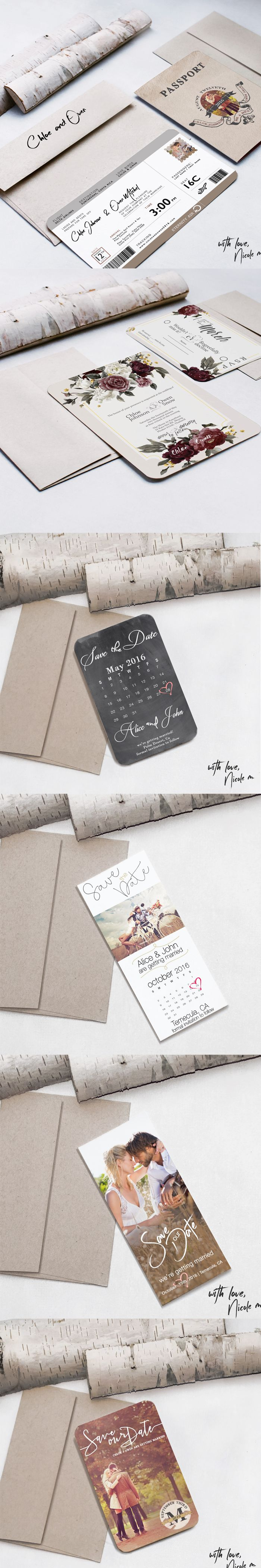 Beautiful Wedding invitation and save the dates