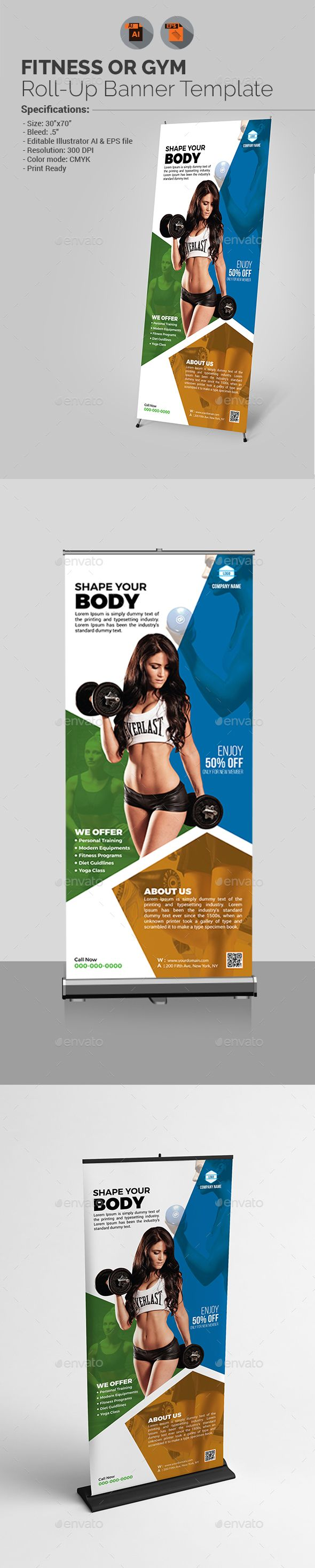 Fitness Roll-up Banner Template Vector EPS, AI Illustrator. Download here: http://graphicriver.net/item/fitness-rollup-banner/15954791?ref=ksioks