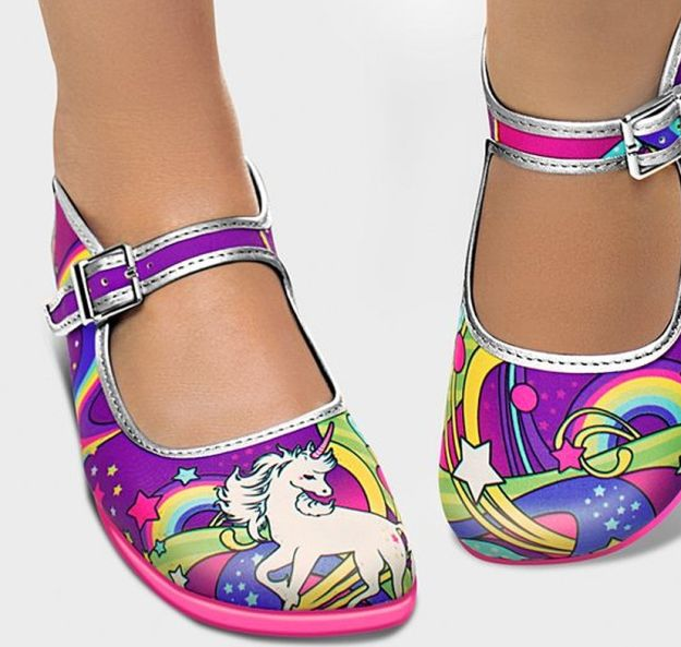 A fantastic pair of flats for unicorn lovers.