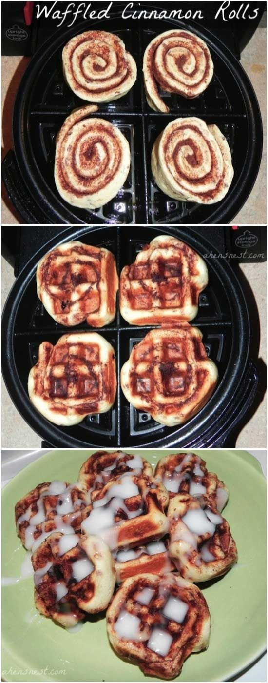 #2. There is no more fun way to cook cinnamon rolls like this. - 15 Amazing Foods to Magically Make in a Waffle Iron
