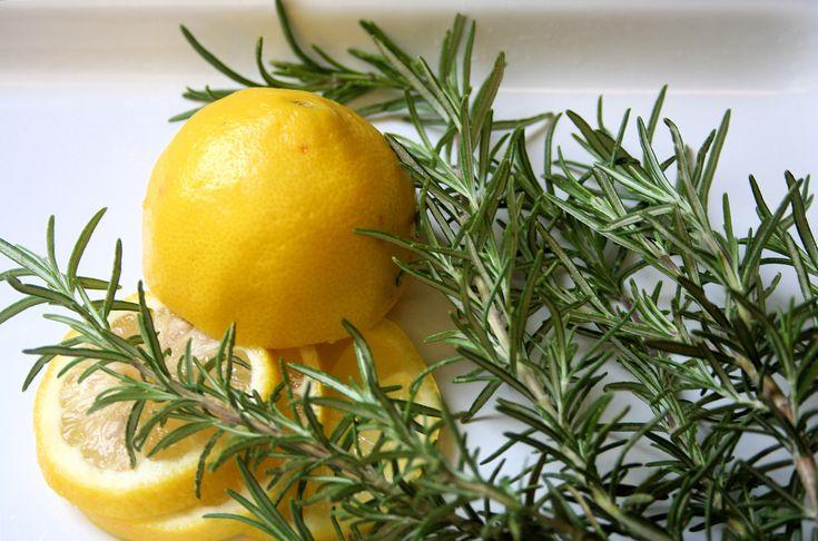 Make your home smell like Wm. Sonoma: Saucepan 2/3 full of water, sliced lemon, sprig rosemary, 1/2 t vanilla