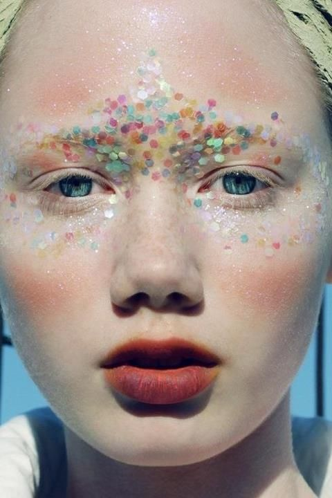 candy colored confetti and icy white makeup, flushed cheeks, almost mermaid-y