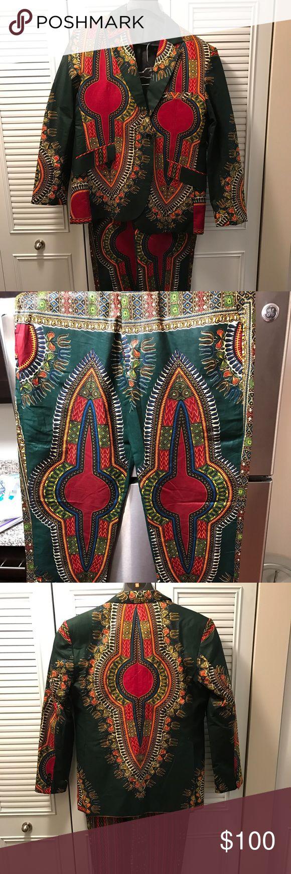 Men's Slim Fit Suit - African Print Men's Custom African Print Suit - Slim Fit - Size 48R - Never Worn - Euro Cut Suits & Blazers Suits