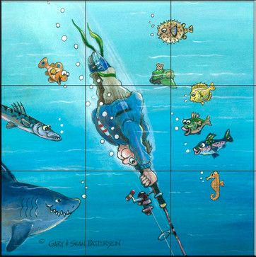 Tile Mural -   Deep Sea Fishing  - Kitchen Backsplash Ideas beach-style-tile-murals