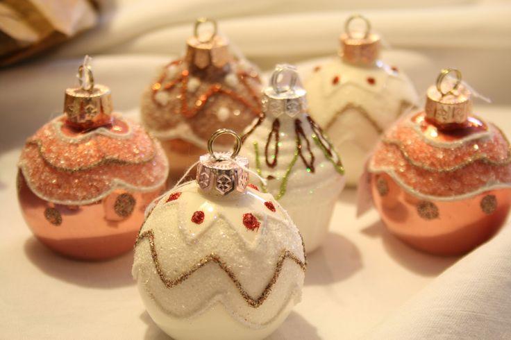Kleine #Weihnachtsbaumkugeln mit Muster