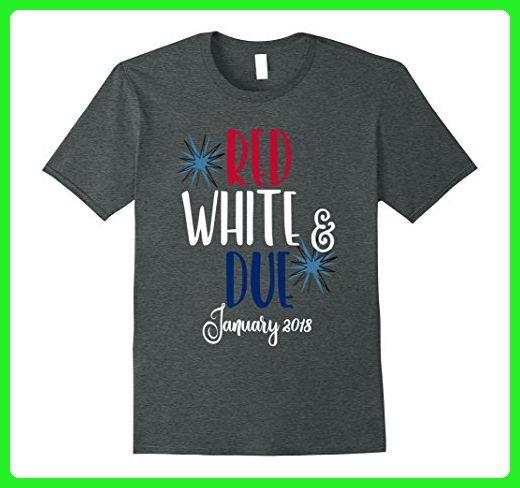 Mens July 4th Shirt Pregnant Red White & Due January 2018 Medium Dark Heather - Holiday and seasonal shirts (*Amazon Partner-Link)