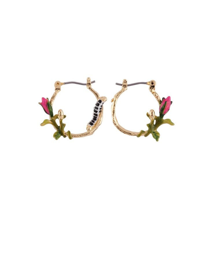 LES NEREIDES Oriental Rose Rosebud And Caterpillar Little Hoops. #lesnereides #