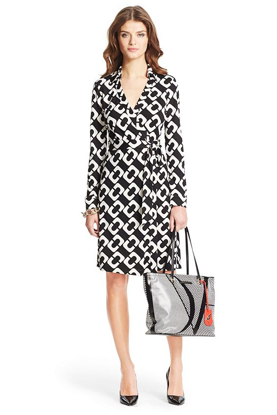 DVF. The New Jeanne Two wrap dress is a modern take on the timeless classic. It's as fresh, flattering, and chic as ever. Cross over wrap with straight skirt and a self-tie belt. With collar. Long sleeves. In our seasonless silk jersey. Unlined. Fit runs small. $398