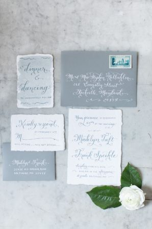 Gray and Blue Wedding Stationery | photography by camillecatherine....