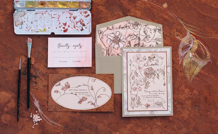 Pale peach and rose gold are quite the duo on this sketched floral invite!  #momentaldesigns  #kristyrice  #handpaintedinvite  #floralinvite  #palepeach  #rosegold   #watercolorwedding