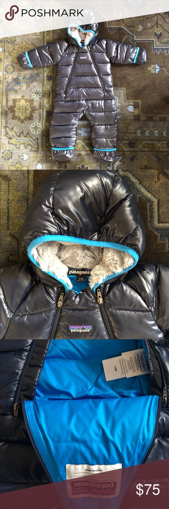 Patagonia Infant Hi Loft Down Bunting 3-6 Months •Polyester outer with water resistant coating  •600-fill traceable duck down •Fleece-lined hood •Generous length  •Double zipper •Very lightly pre-loved, excellent condition, original owner Patagonia Jackets & Coats Puffers