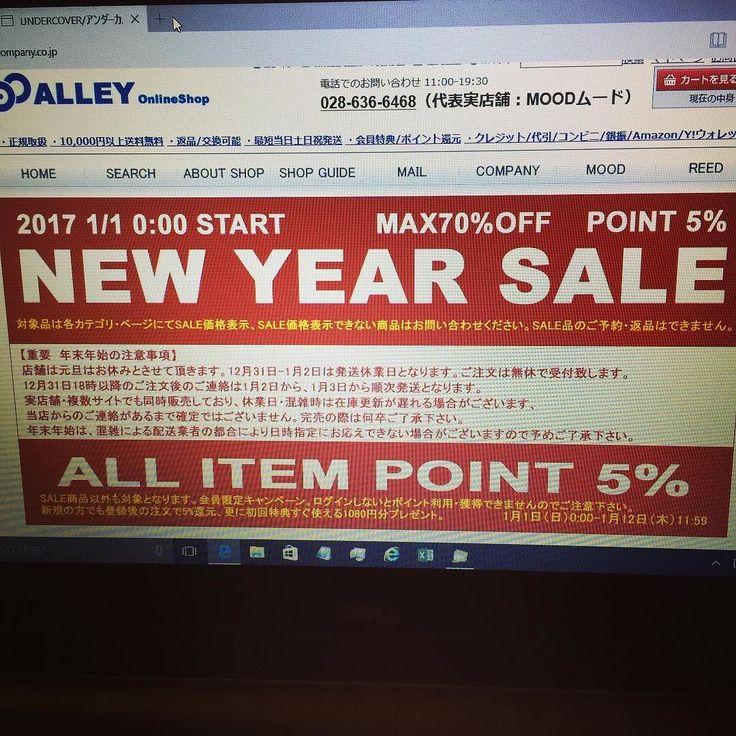 alleycompany.co.jp ALLEY OnlineShop 2017 NEW YEAR SALE START !! 本日1月1日0時より初売りがスタート致しました  #alleycompany #alleyonlineshop #mood #通販 #通販サイト #sale #セール #初売り #初売りセール #宇都宮 #栃木 #メンズセレクトショップ