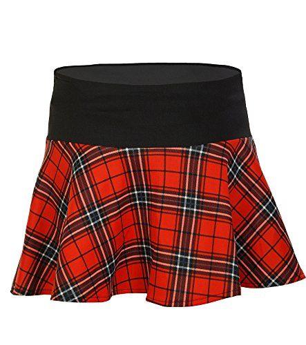 Apparel Outlet – Jupe courte rouge à carreaux – Femme – S: Mini Jupe évasée dans le style Tartan Jupe à carreaux, motif écossais avec…